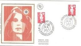 France Enveloppe FDC Soie 1er Jour 1993 Le NOUVEAU TIMBRE Boulogne Billancourt Marianne Bicentenaire - S206 - FDC