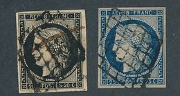 """N-703: FRANCE: Lot Avec """"CERES"""" N °3/4  Obl Grille - 1849-1850 Ceres"""