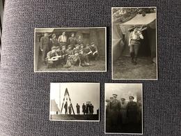 4  Fotos.  Visites Du Roi Baudouin. Le 20/11/53 à Bourg-Léopold. - Guerre, Militaire