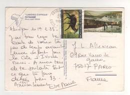 """Beaux Timbres , Stamps """" Antilope Céphalophe , UPU  """" Sur Cp , Carte , Postcard  Du 01/02/83 Pli Angle Supérieur Gauche - Costa D'Avorio (1960-...)"""
