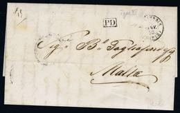 ALEAXANDRIA -> MALTA 1852  Complete Letter PD IN BLANCK - British Levant