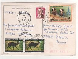 """Beaux Timbres , Stamps """" Antilope Céphalophe , Cyclisme 1979 Année Préolympiq  """" Sur Cp , Carte , Postcard  Du 01/06/87 - Costa D'Avorio (1960-...)"""