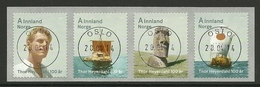 Norway 2014 Thor Heyerdahl Strip Central Cancel Y.T. 1798/1801 (0) - Norvège