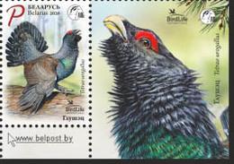 Belarus 2020 Bird Of The Year Western Capercaillie Birds Fauna 1v + Label Zrf MNH - Belarus