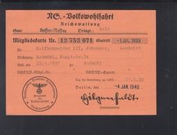 Dt. Reich NS Volkswohlfart Mitgliedskarte 1940 - Historische Dokumente