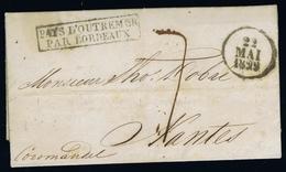 INDIA CALCUTTA -> NANTES FRANCE COMPLETE LETTER 1829 PAYS D'OUTREMER PAR BORDEAUX - Indien (...-1947)