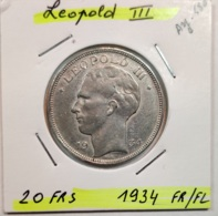BELGIQUE - LEOPOLD III - 20 Francs  1934  Fr/Fl - 07. 20 Francs
