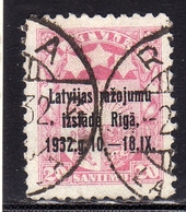 LATVIA LETTLAND LETTONIA LATVIJA 1932 ARMS AND STARS FOR VIDZEME KURZEME LATGALE STEMMA OVERPRINTED 20s USATO USED OBLIT - Lettonia