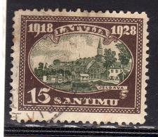 LATVIA LETTLAND LETTONIA LATVIJA 1928 VIEW OF CITIES VEDUTE DI CITTÀ JELGAVA 15s USATO USED OBLIT - Lettonia