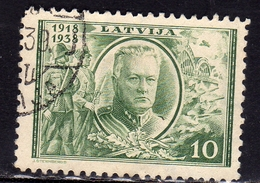 LATVIA LETTLAND LETTONIA LATVIJA 1938 REPUBLIC ANNIVERSARY GENERAL J. BALODIS 10s USATO USED OBLITERE' - Lettonia