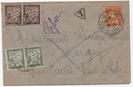 Banderole Duval TAXE AMENDE 1F 1923 Semeuse 5c   Chaîne Bonheur Chance Affranchie Tarif Imprimé Cf Description - Strafport