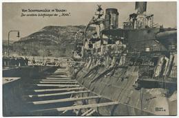 Marine Militaire Croiseur Cuirassé Kriegsschiff Warship Iena France Navy Battleship Dry-dock Toulon After Her Magazine - Guerra