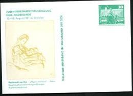 DDR PP16 D2/020 Privat-Postkarte REMBRANDT KUNSTAUSSTELLUNG Dresden 1981 NGK 3,00 € - Postales Privados - Nuevos