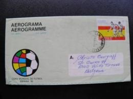 Cover Aerograma Aerogramme Kuba Football Soccer Spain Espana 1982 World Cup - Cartas