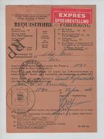 REF418/ CP Réquisitoire Vordering Exprès + RP C.Postes-Posterijen 22/6/66 - Marcophilie