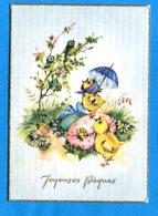 NY094, Oiseau, Bird, Papillon, Butterfly, Parapluie, Poussin, Oeufs De Pâques, GF, Circulée 1962 - Pâques