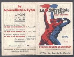 Lyon - Calendrier 1940 - Le Nouvelliste De Lyon - Petit Format : 1921-40