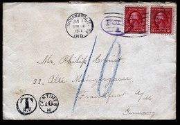 A6613) DR Brief Aus USA 1914 M. Nachporto N. Frankfurt - Deutschland