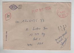 REF423/ Lettre Recommandée (RP) En Franchise C.Regiepost 12/8/82 Plat 3-6e MOD > Post 5 FBA C.d'arrivée - Marcophilie