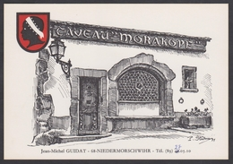 Carte Publicitaire Illustrateur Pierre Sturm 1971 Caveau Morakopf - 68 Niedermorschwihr - Alsace Haut-Rhin - France