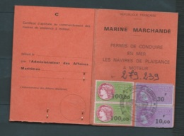 Marine Marchande , Permis De Conduire En Mer Délivré En 1983 , Voit Fiscaux - Lo43301 - Fiscales