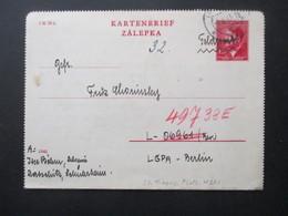 Böhmen Und Mähren GA Kartenbrief K 4 Aus Iglau Nach Berlin Luft Gau Postamt Marke Handschriftlich überschrieben Feldpost - Böhmen Und Mähren