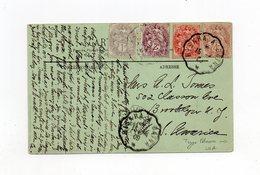!!! BEL AFFRANCHISSEMENT QUADRICOLORE AU TYPE BLANC SUR CPA DE 1909 DE BISKRA (ALGERIE) POUR LES USA - 1900-29 Blanc