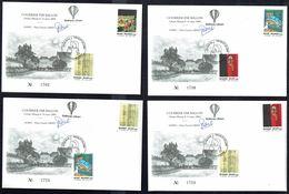 AEROPHILATELIE - TINTIN,4 Enveloppes Par Ballon De Ceroux-Mousty - 13-3-04 - Pas Au Catalogue Belge De L'Aérophilatélie - Marcophilie