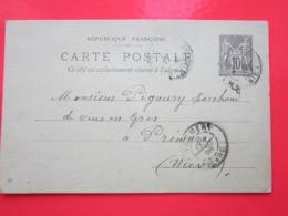 Cp écrite BONNOT BURALISTE à CHAMPLEMY (58) Le 24/08/1898 Oblitérée CHAMPLEMY & PREMERY (58) Timbre Entier Type SAGE - Entiers Postaux