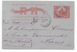 HAITI - 1906 - CARTE ENTIER De PORT AU PRINCE  => PARIS - Haití