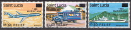 St. Lucia Used Overprinted Set - Transport