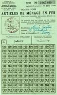 """Coupon D'achat En Gros 1948 Cluny (Cote-de-Or) """" Articles De Menage En Fer 50x100gram """" Carte Ravitaillement R - Specimen"""