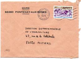 France N° 1999 Y. Et T. Hauts De Seine Fontenay Aux Roses Flamme Ondulée Du 10/10/1979 Sur Lettre - 1961-....