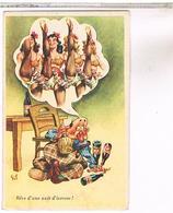 Illustrateur   GIL    HUMOUR  PIN UP  REVE D UNE NUIT D IVRESSE - Künstlerkarten