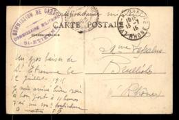 CACHET DU COMMISSAIRE MILITAIRE DE LA GARE DE SAINT-ETIENNE - Marcophilie (Lettres)