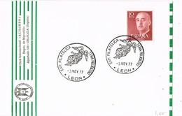 35916. Tarjeta LEON 1977. Exposicion Filatelica Tema RELIGION - 1931-Hoy: 2ª República - ... Juan Carlos I