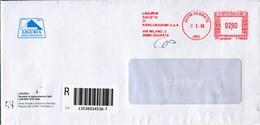 """Italia (2008) - Raccomandata Da Segrate (MI) """"Liguria Assicurazioni"""" - Affrancature Meccaniche Rosse (EMA)"""