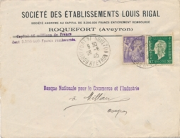 """IRIS DULAC PERFORÉS """" LR """" LOUIS RIGAL """" Sur Lettre En-tête De ROQUEFORT S/ SOULZON AVEYRON Pour Millau - Alimentation"""