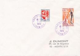 """Cachet En VIOLET """" PARIS 25 BIS LIBRAIRIE 7/1/74 """" Sur Lettre - Postmark Collection (Covers)"""