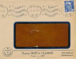 """GANDON 15f Obl Mécanique  """" EPERNAY PP 23/3/54 """" MARNE Lettre En-tête MOËT & CHANDON CHAMPAGNE VINS - Marcofilia (sobres)"""