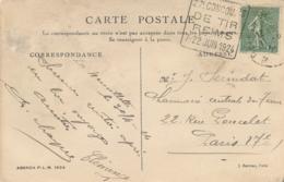 """RARE DAGUIN """" 27è CONCOURS DE TIR REIMS 7-22 JUIN 1924 """" MARNE Obl SEMEUSE 130 Sur CP - Marcofilia (sobres)"""