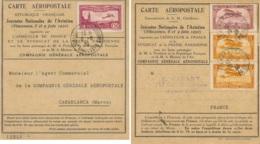 MAROC FRANCE Carte AEROPOSTALE Journées Aviation Vincennes 8 Et 9 Juin 1930 - Luftpost