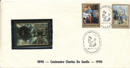 CHINE Friendship Between China And France - MAO - Centenaire DE GAULLE Lettre Feuille Plaque Or Gold Cover Lettre - 1949 - ... République Populaire