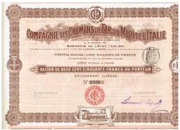 Titre Ancien - Compagnie Des Chemins De Fer Du Midi De L'Italie - Titre De 1905 - N° 9710 - Chemin De Fer & Tramway