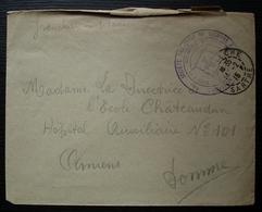 La Flèche 1915, Société De Secours Aux Blessés Militaires, Cachet Sur Enveloppe Pour L'Hôpital Auxiliaire 101 à Amiens - Storia Postale