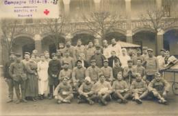 CP PHOTO BEAUVAIS OISE Blessés Militaires Et Infirmières - HOPITAL N°1 - Daté Du 13/01/1917 - Guerre, Militaire