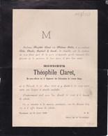 VILVORDE VILVOORDE Théophile CLARET Ex-sous-officier Cuirassiers Armée Belge  1830-1888 HUBAR - Décès