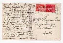 DF / FRANCE SUR CARTE POSTALE / FLAMMES : NOUVEAUX THERMES AIX-LES-BAINS 1937 SUR TP 278B SEMEUSE ET 283 TYPE PAIX - Marcofilie (Brieven)