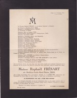 LIEGE Madeleine TRIES épouse Raphaël FRESART 1815-1943 Famille Le PAIGE HECTERMANS DESTEXHE - Décès