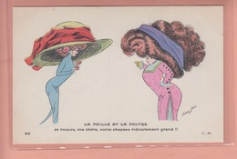 OLD POSTCARD - ARTIST SIGNED -    SAGER - WOMAN WITH BIG HAT - CHAPEAU - Sager, Xavier